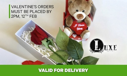 Rose & Teddy Bear ($49) or Acrylic Box with Preserved Roses with Delivery ($199) at Luxe Floral Design Co. (Up to $349)
