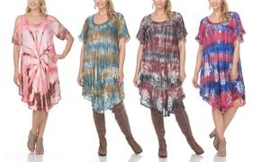 Short Sleeve Cold Shoulder Boho Dresses with Plus Size