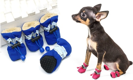 $9.95 for FourPiece Waterproof AntiSlip Winter Pet Shoes with Reflective Stripe for Small Cats and Dogs