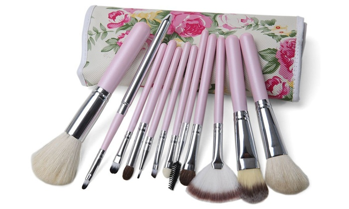 travel makeup brushes. professional makeup brush set with floral travel case (12-piece) brushes