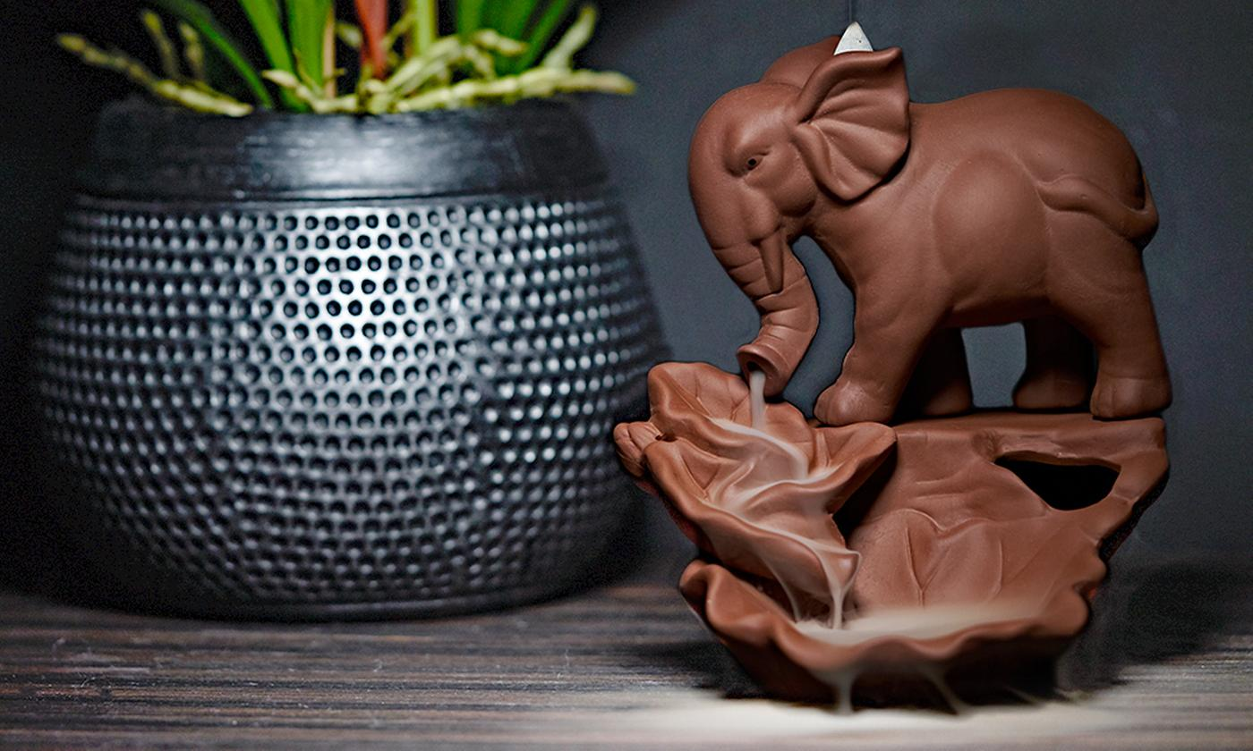 Elephant Backflow Incense Burner with Optional 100 Incense Cones