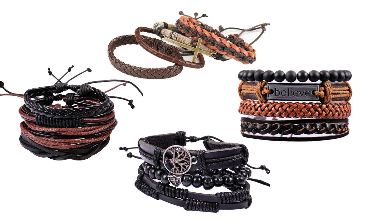 Four- or Eight-Piece Men's Bracelet Set