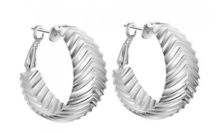 Sterling SilverPlated Leaf Hoop Earrings for £9.98