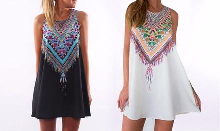 Hippiechique mouwloze jurk