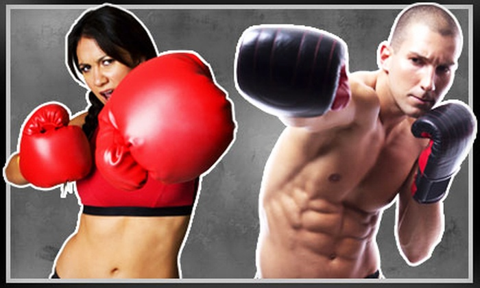 iLoveKickboxing.com - Shangri La: 4 or 10 Kickboxing Classes with 40-Minute Personal-Training Session and Pair of Boxing Gloves at iLoveKickboxing.com (Up to 74% Off)
