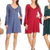 Nelly Women's Tunic Dress with Open Bell Sleeves