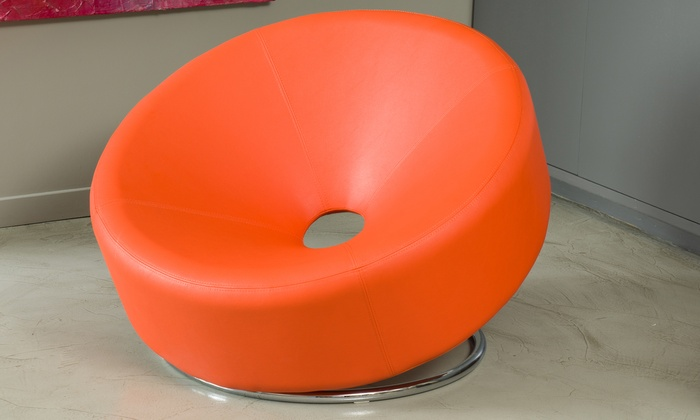 Nouvelle Modern Leather Donut Accent Chair: Nouvelle Modern Leather Donut Accent Chair