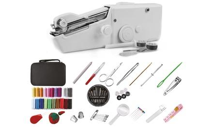 Máquina de coser portátil de mano con bobinas de hilo y costurero de 126 piezas