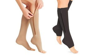 Zip-Up Open-Toe Compression Socks (2-Pairs)   at Zip-Up Open-Toe Compression Socks (2-Pairs), plus 6.0% Cash Back from Ebates.