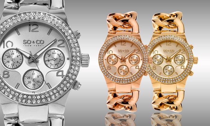 So & Co New York Women's Multifunction Watch: So & Co New York Women's Multifunction Chain-Link Bracelet Watch