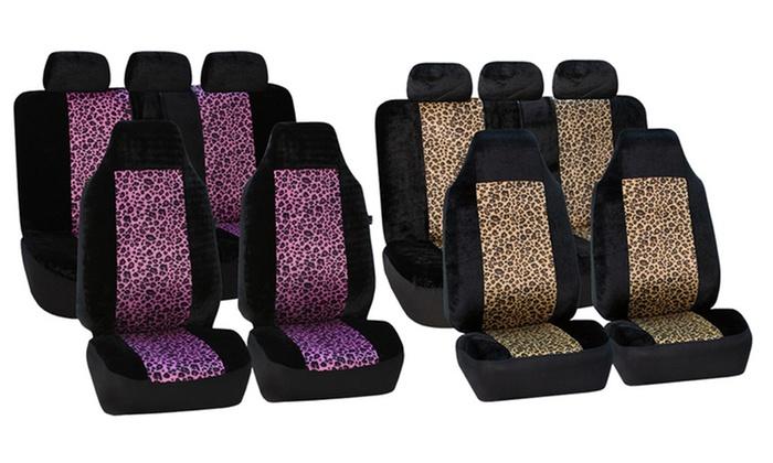 Universal Fit 2 Tone Leopard Print Seat Covers Set 8 Piece