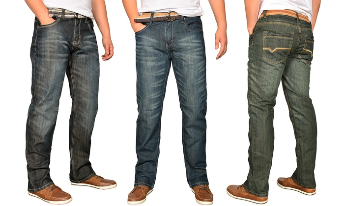 Men's Belted Straight Fit Jeans (2-Pack)