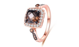 Peermont Smokey Topaz and Morganite Cushion-Cut Halo Ring