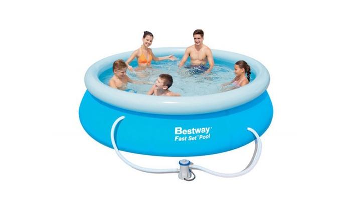 jusqu 39 55 piscine hors sol fastset bestway groupon