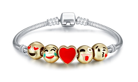 Silver Emoji Bracelet: One $8 or Two $14 Don't Pay up to $118
