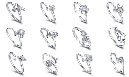 Zodiac Sign Adjustable Ring with Crystals from Swarovski®