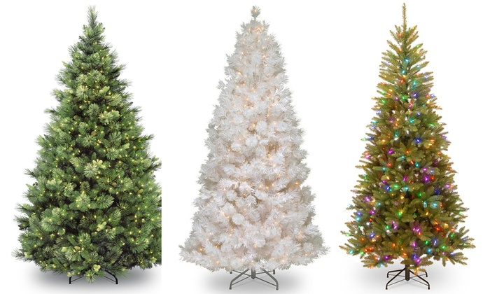 53% Off on Pre-Lit Christmas Trees & Stands | Groupon Goods