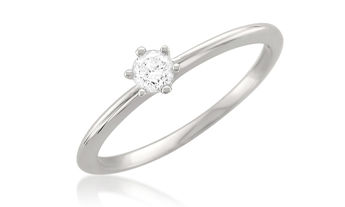 1/5-Carat Round-Diamond Solitaire Engagement Ring in 14K White Gold: 1/5-Carat Round-Diamond Solitaire Engagement Ring in 14-Karat White Gold. Free Shipping and Returns.