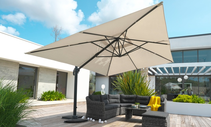parasol alu inclinable pied d port groupon shopping. Black Bedroom Furniture Sets. Home Design Ideas