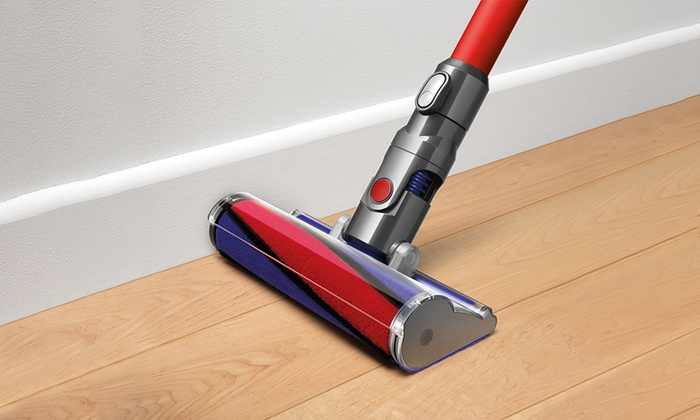 dyson v6 absolute red cordless stick vacuum groupon. Black Bedroom Furniture Sets. Home Design Ideas