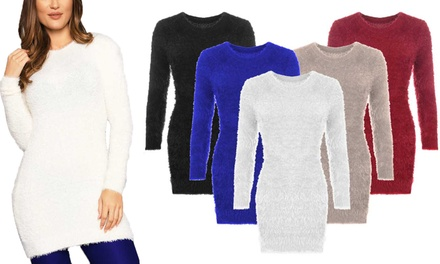 Women's VNeck Fluffy Jumper in Choice of Colour for £9.98