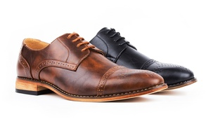Signature Men's Brogue Cap-Toe Dress Shoes