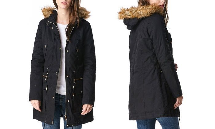 Women's Sherpa-Lined Cotton Parka Jacket with Hood