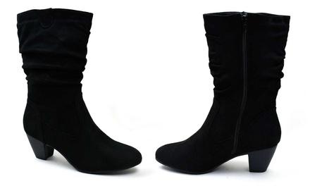 Womens Block Heel Mid-Calf Boots