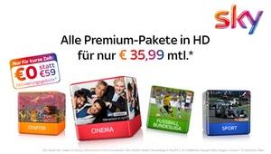 Sky Deutschland: TV-Paket Sky Starter + 3 Premiumpakete Cinema, Fußball-Bundesliga und Sport inkl. Premium HD