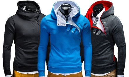 Men's Stylish Overhead Hoodie with Snap Button Detailing
