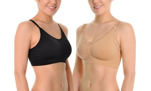 Angelina Wire-Free Seamless Bras with Adjustable Back-Closure (6-Pack)