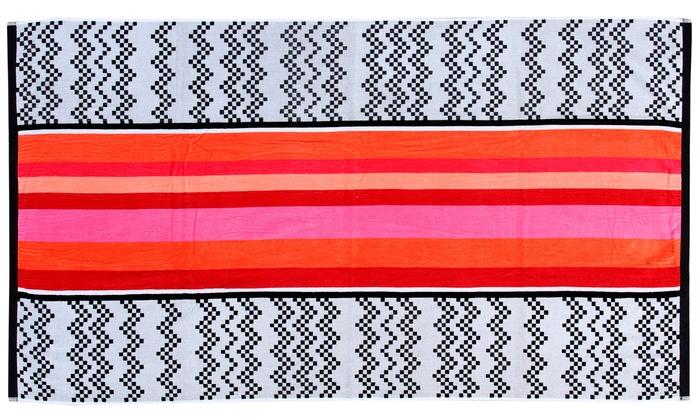Oversized Reversible Jacquard Chevron Striped Beach Towel: Oversized Reversible Jacquard Chevron Striped Beach Towel