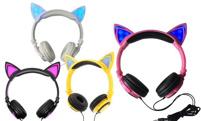 Jamsonic DJ-Style Light-Up Cat-Ear Headphones
