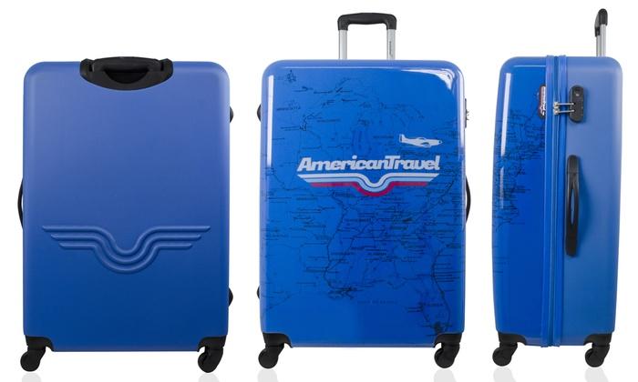 montaje Quemar pedazo  1 o 3 maletas de policarbonato y cuatro ruedas dobles American Travel