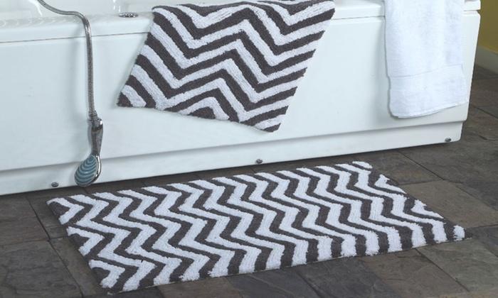 chevron bath rug set (2-piece) | groupon goods
