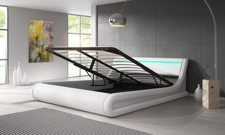 lit design led en faux cuir v rins hydrauliques 160 180x200cm charleroi idiscount belgium. Black Bedroom Furniture Sets. Home Design Ideas