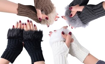 Fingerless Furry Gloves