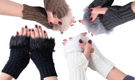 Up to Four Pairs of Furry Fingerless Gloves