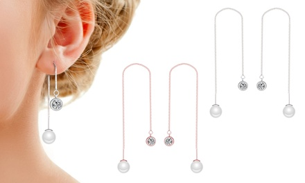 One, Two or Three Pairs of Philip Jones Pearl Thread Earrings with Crystals from Swarovski®