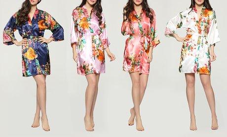 Pretty Bash Floral-Garden-Print Satin Robe
