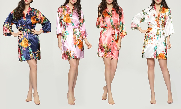 Pretty Bash Floral-Garden-Print Satin Robe for Regular and Plus Sizes