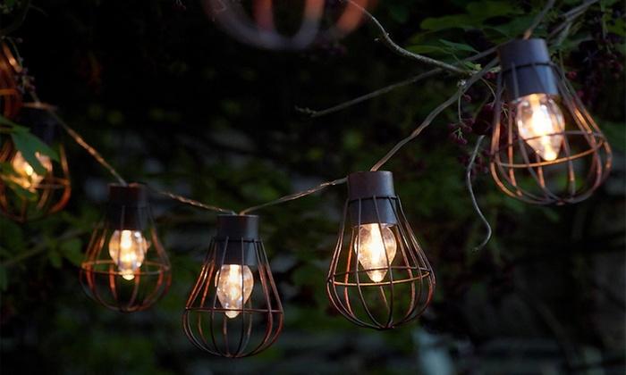 Vintage Cage Lantern Solar String Led Lights Livingsocial