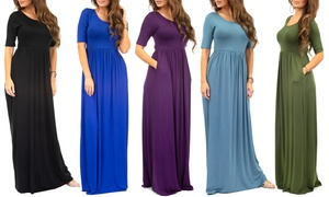 Womens Short Sleeve Maxi Dress with Pockets with Plus Size