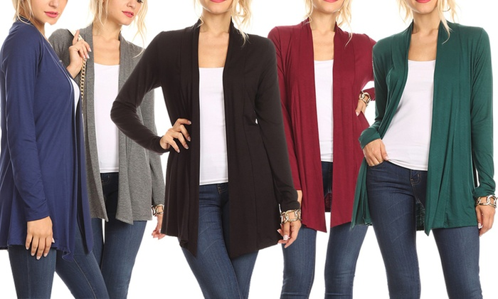 4692b43925b Nelly Women s Draped Long-Sleeved Cardigan