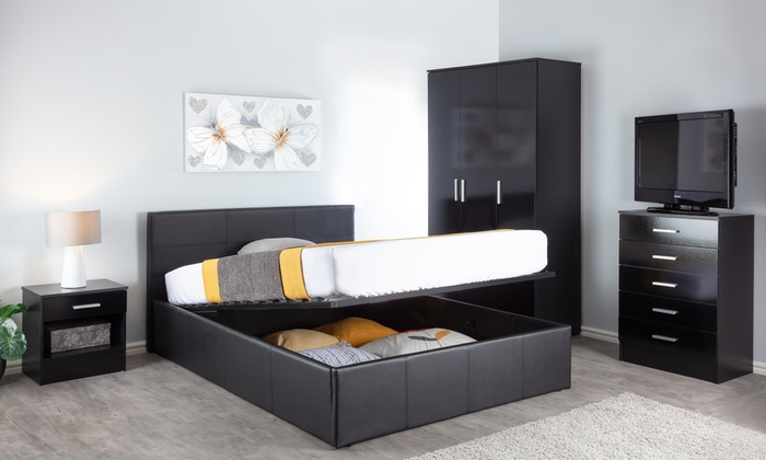 End Lift Ottoman Storage Bed with Optional 6