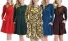 Lyss Loo I'm Smitten Women's Holiday Long-Sleeve Skater Dress