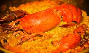 Las Paellas de Luis: Menú para 2 o 4 con entrante, arroz con bogavante, postre y botella de vino o bebida desde 24,95€ en Las Paellas de Luis
