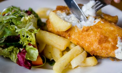 image for Fish and Chips with Optional Prosecco for Two or Four at Zara's Mediterranean Bistro (Up to 42% Off)