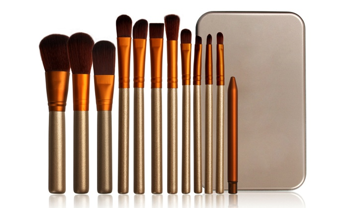 12-Piece Gold and White Make-Up Brush Set with Metal Case for £6.50