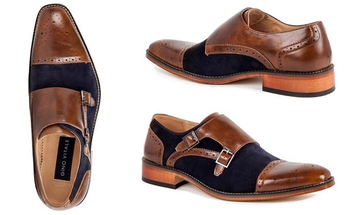 036544fea09 Gino Vitale Men s Double Monk-Strap Two-Tone Loafers